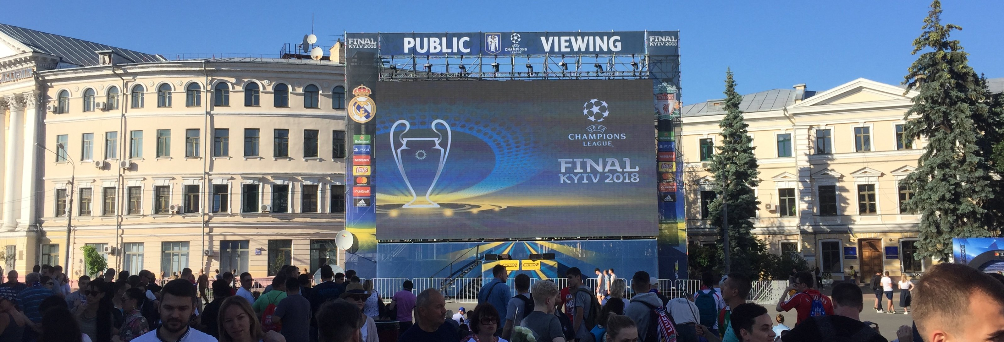 Time lapse of equipment installation for broadcasting 2018 Champions League Final.